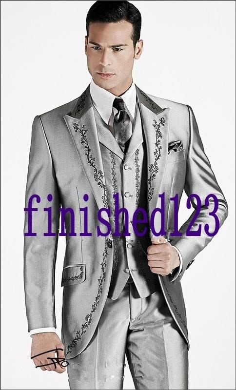 Custom Made One Button Grigio Argento Ricamo Smoking Dello Sposo Groomsmen uomo Prom Abiti (Jacket + Pants + Vest + Tie) K: 483