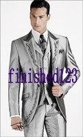 Custom Made One Button Silber Grau Stickerei Bräutigam Smoking Groomsmen männer Hochzeit Prom Suits (Jacket + Pants + weste + Tie) K: 483
