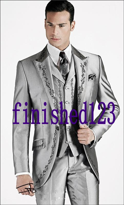 Custom Made One Button Silver Gray Embroidery Groom Tuxedos Groomsmen Men's Wedding Prom Suits (Jacket+Pants+Vest+Tie) K:483