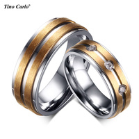 2pcs Sets Wedding Ring For Couples Love Promise Anniversary Gift 316l Stainless Steel Wire Drawing