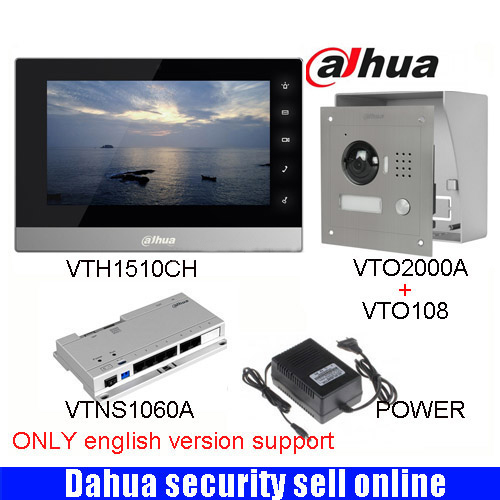 Mutil-language Dahua DH-VTH1510CH Color Monitor with VTO2000A outdoor IP camera Video Intercom system with VTO108 box original 7 inch touch screen dahua dh vth1550ch color monitor with to2000a outdoor ip metal villa outdoor video intercom system