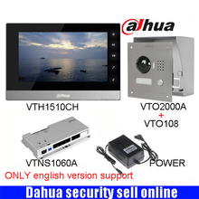 Mutil-language Dahua DH-VTH1510CH Color Monitor with VTO2000A outdoor IP camera Video Intercom system with VTO108 box