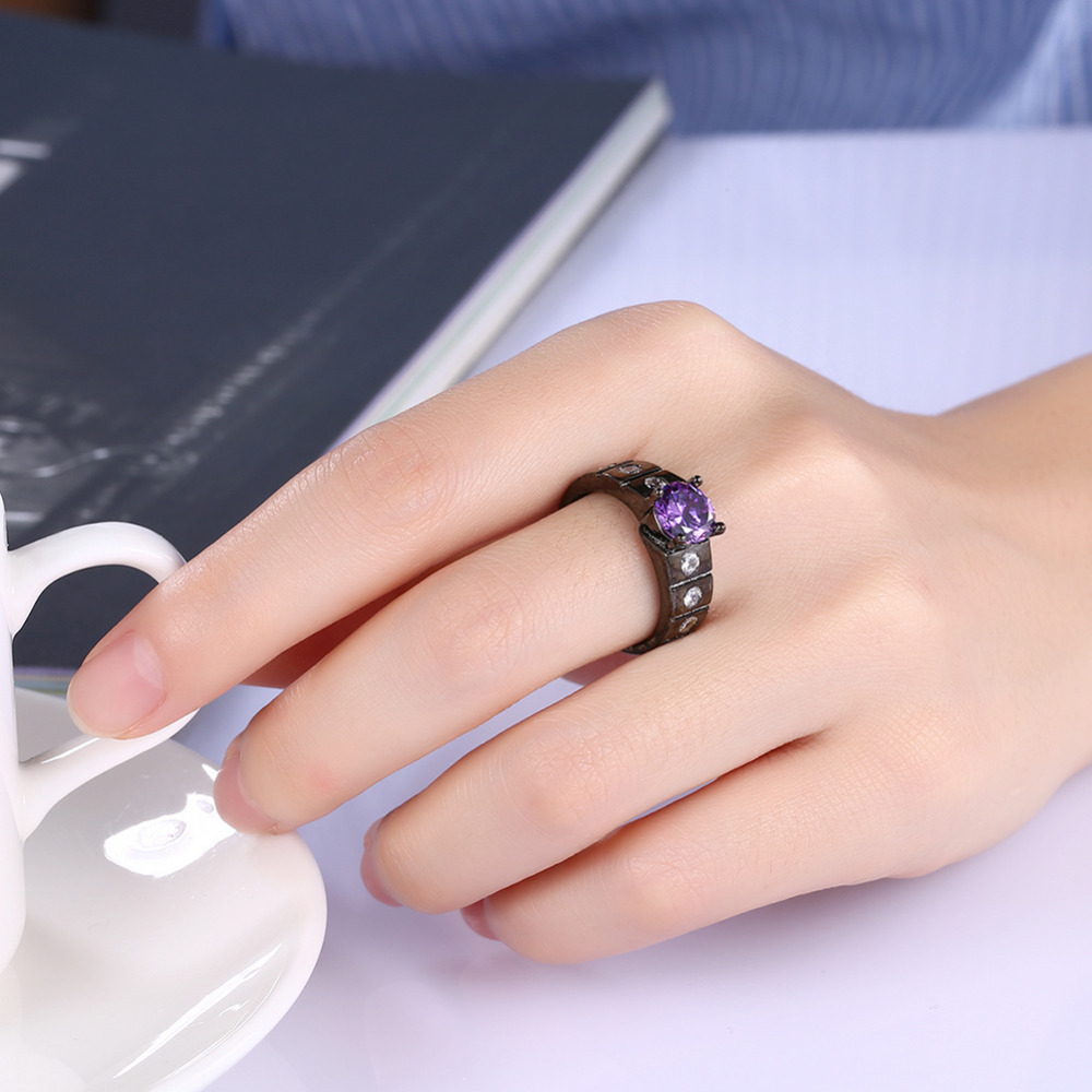 Pretty Rings For Girls Luxurious Black Gun Plated 8MM Wide Round ...