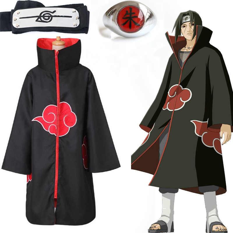 Anime Naruto Akatsuki vestido de disfraz en forma de manto Uchiha Itachi anillo diadema hombres regalos Sasuke capa Halloween Carnaval