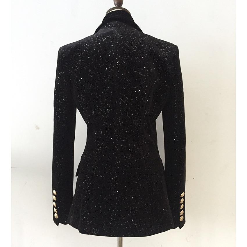 Newest Fashion Long Blazer Women Spring Autumn 2019 Office Elegant Double Breasted Sequined Black Blazer Ladies Jacket
