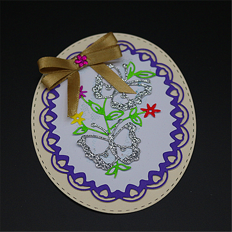 AZSG Round Frame Leaves Butterfly Cutting Die for DIY Scrapbooking Decoretive Embossing Stencial DIY Decoative Cards die cutter in Cutting Dies from Home Garden