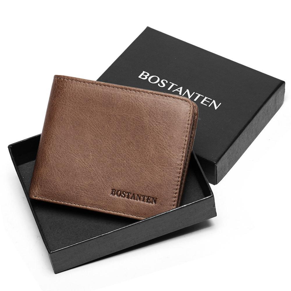 BOSTANTEN мужской ID/кредитный держатель для карт, двойной передний карман, кошелек с коробкой, RFID Блокировка, бизнес-держатель для карт, натуральная кожа - Цвет: Brown
