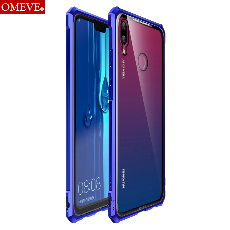 OMEVE For Huawei Y9 2019 Case Enjoy Max Cases Alloy Metal Frame Clear Tempered Glass Back Cover Bumper For Huawei Enjoy 9 Plus