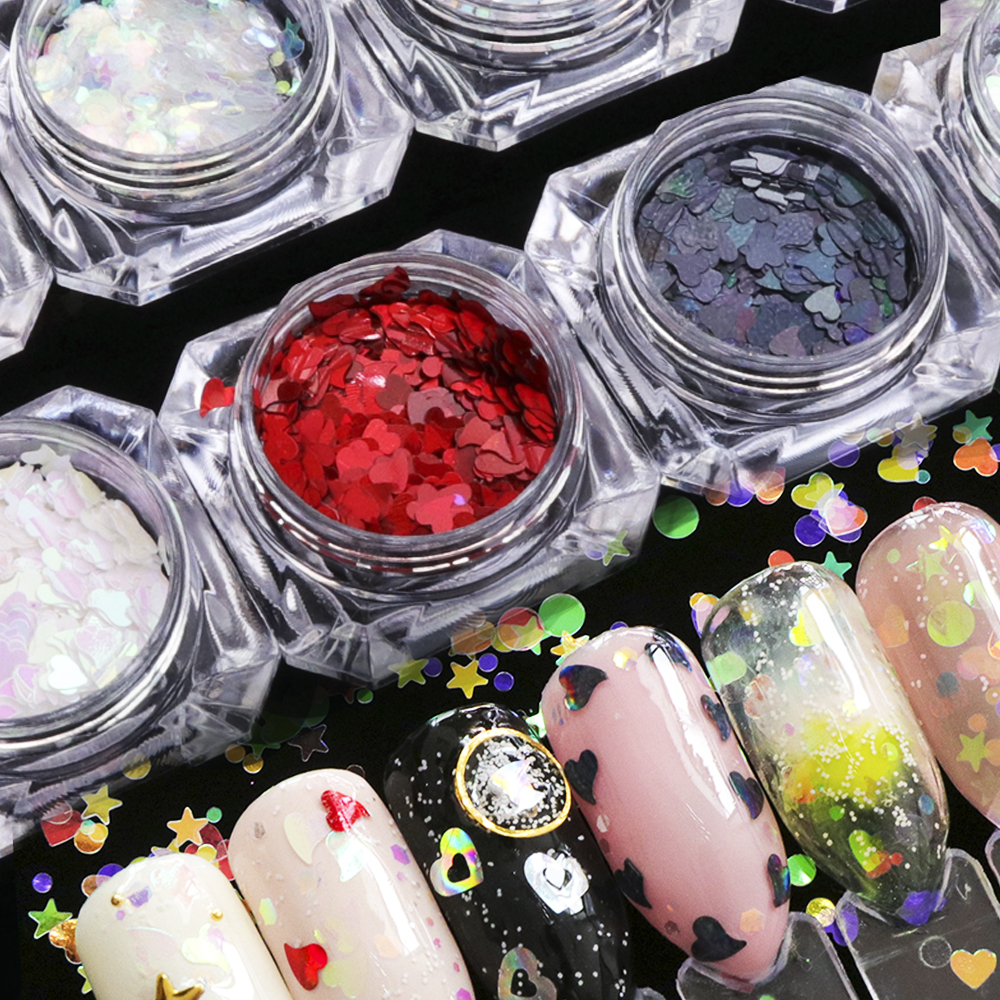1 Box Chrome Ab Ultra Shinny Nail Sequins Heart Colorful