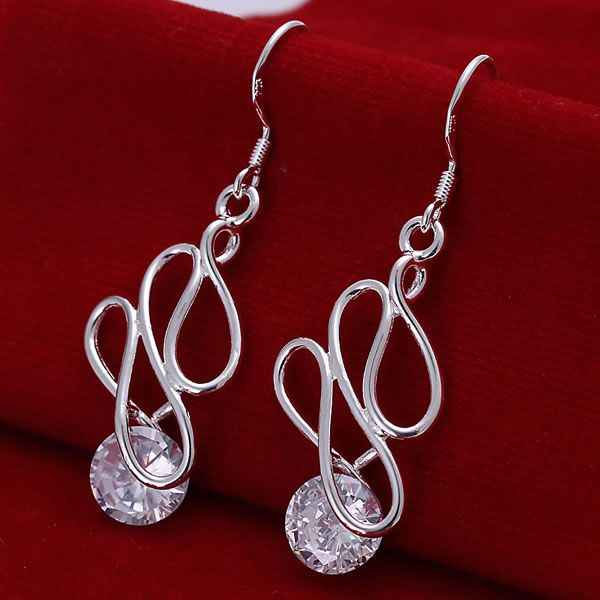 E202 Wholesale Free Shipping Silver Color Earrings , 925-silver-fashion Charms Jewelry , Twisted Stone Earrings /angajena