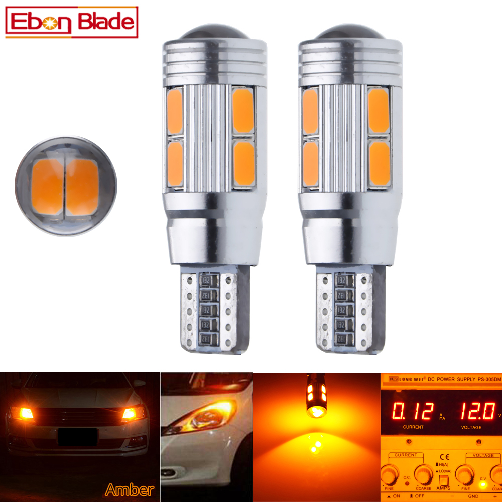 2/4 Pcs T10 W5W 194 168 Car LED Light 5630 10SMD Canbus Error Free Auto Interior Side Turn Bulb Lamp Amber Yellow Oragne 12V DC-in Signal Lamp from Automobiles & Motorcycles