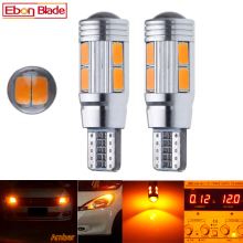 2/4 Pcs T10 W5W 194 168 Car LED Light 5630 10SMD Canbus Error Free Auto Interior Side Turn Bulb Lamp Amber Yellow Oragne 12V DC