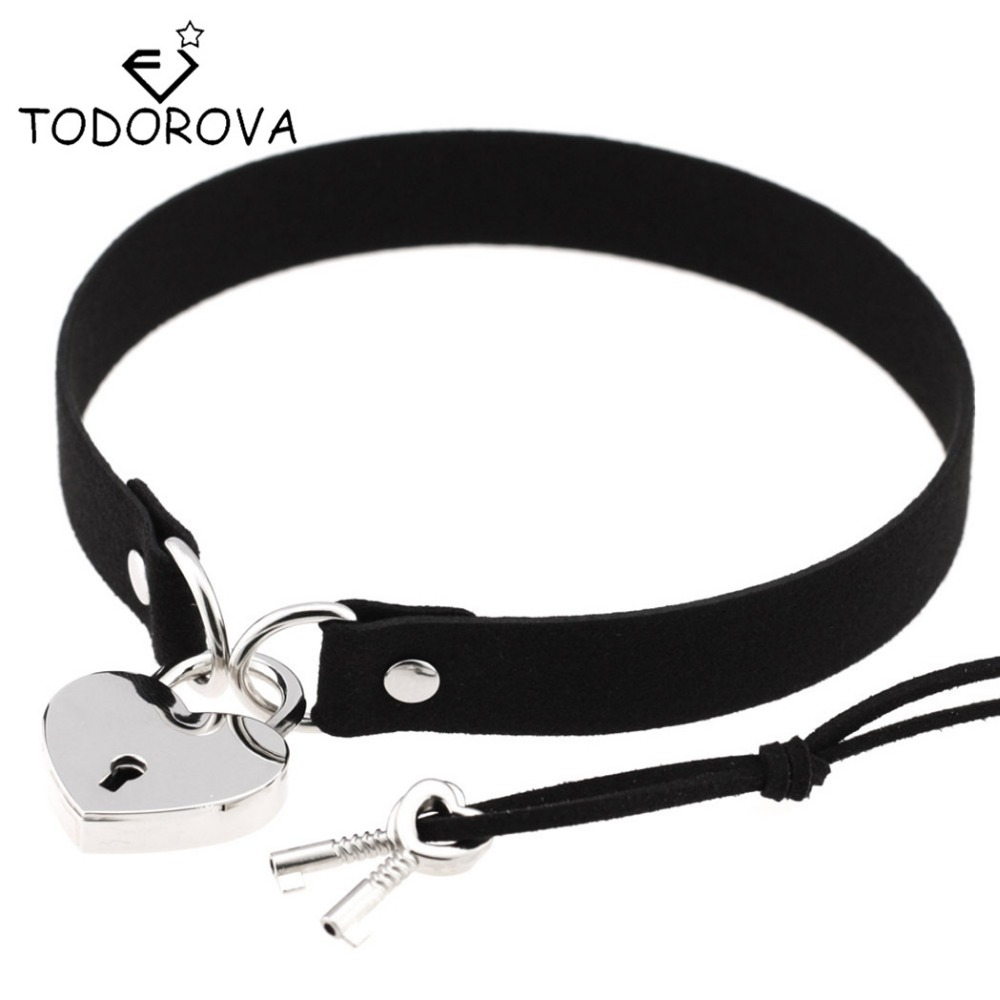 Todorova Gothic Punk Harajuku Heart Lock Velvet Leather Choker Necklace Choker Collar with Key Jewelry for Women Accessories