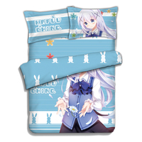 Is The Order A Rabit Kafuu Chino Anime Quilt Cover Anime Sky Bule Four Piece Suit