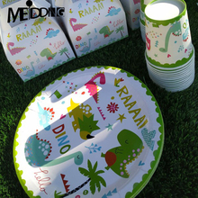 Dinosaur Disposable party tableware Paper plates Kids boy Birthday party decorations Jurassic world Roar dino jungle party decor