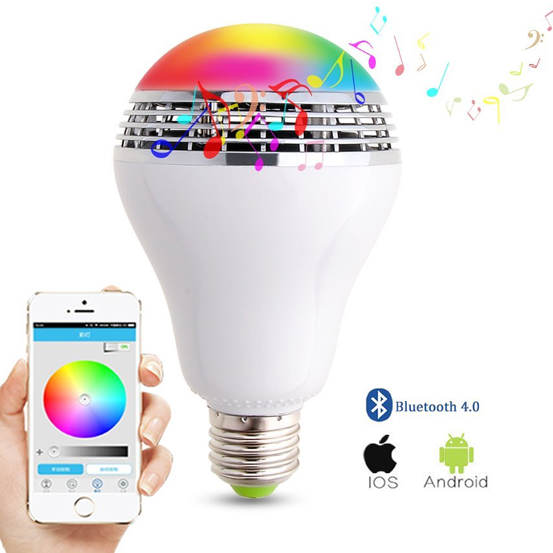 Smart RGBW LED Light 8w multi color lamp Bluetooth speaker music Playing E27 Bulb Lights cellphone control light color dimmable redmond rhf 3303