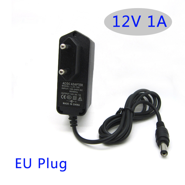 AC dc adapter 12 V 1A 1000MA 12 W Converter Adapter Oplader DC5.5 * 2.1mm Plastic case LED driver wandmontage met EU plug