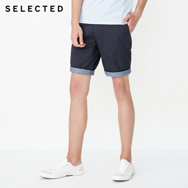 SELECTED 100% Cotton Splicing Turn-up Leg Leisure Shorts S|4182SH531