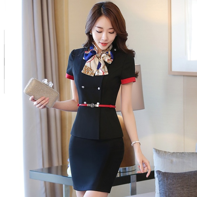 Formal Professional Ladies Blazer Suits With Jackets And Skirt 2017 Beauty Salon Summer Female Outfits Work Wear Blazers Black