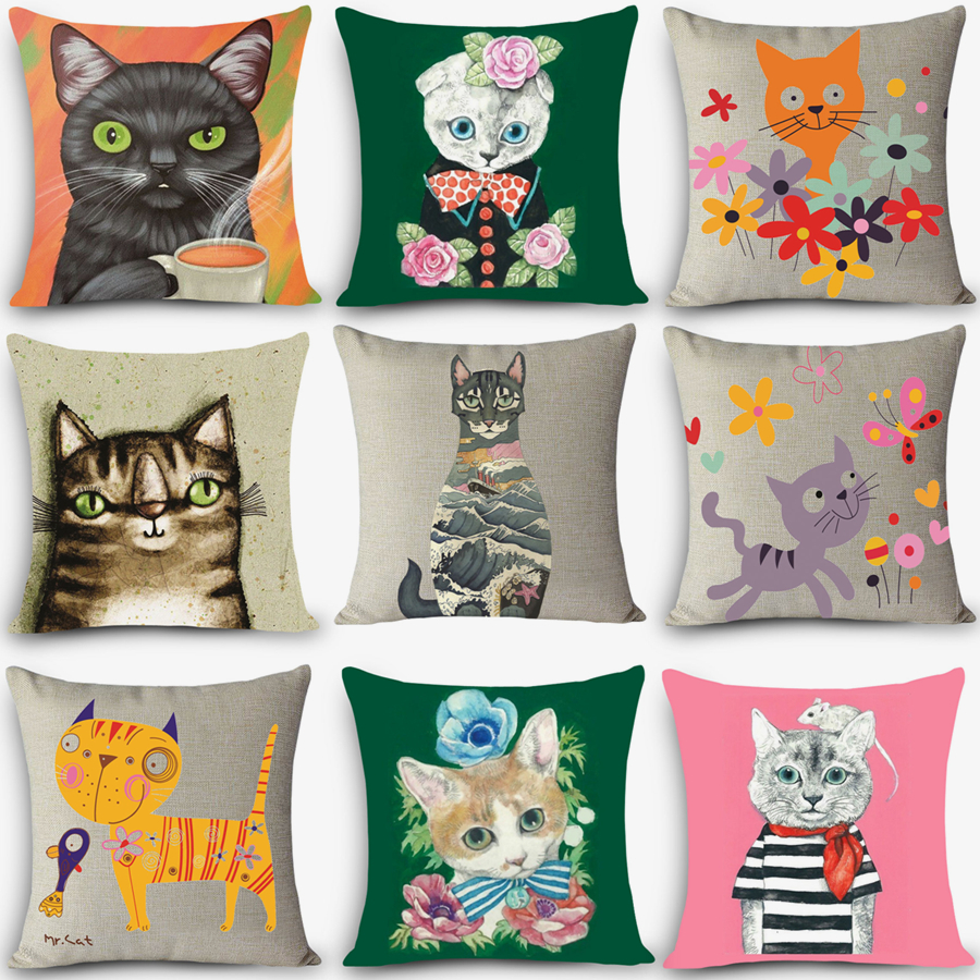 Wholesale cheap price cushions beauty cat Print Home Decorative Cushion Throw Pillow Vintage Cotton Linen Square Pillow MYJ-D7