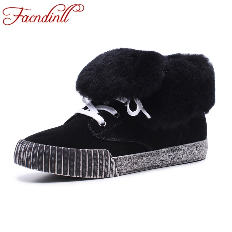 FACNDINLL new 2017 fashion women autumn winter ankle boots shoes genuine leather flat with real fur shoes woman winter snow boot front lace up casual ankle boots autumn vintage brown new booties flat genuine leather suede shoes round toe fall female fashion