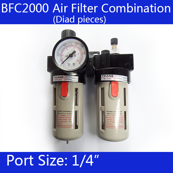 BFC2000 Free Shipping 1/4 Air Filter Regulator Combination Lubricator ,FRL Two Union Treatment ,BFR2000 + BL2000