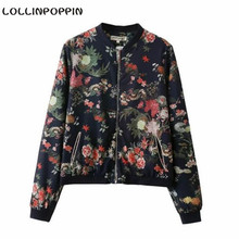 Women Floral Aviator Jacket Flowers & Leaf Printed New 2016 Ladies Fashion Bomber Jackets Stand Collar Free Shipping