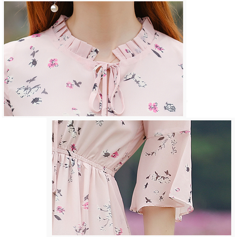 Image 5 - Women Summer Dress Printed Chiffon Women Dresses 2020 Boho Sweet Girl Ruffles Dress Short Sleeve Floral Dress Beach VestidosDresses   -
