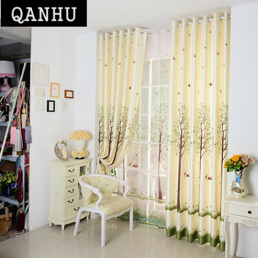 Blackout curtains for bedroom - Qanhu Pastoral Curtains For Kitchen Light Yellow Landing Customize Comfortbale Blackout Curtains For Bedroom Curtains Set