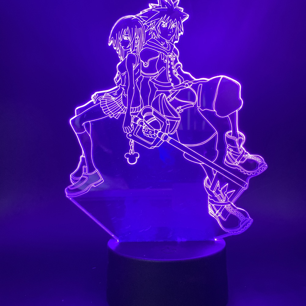 3d Led Night Light Game Kingdom Hearts Sora Kairi Figure For Bedroom Decorative Nightlight Kids Child Cool Gift Table Lamp 3d