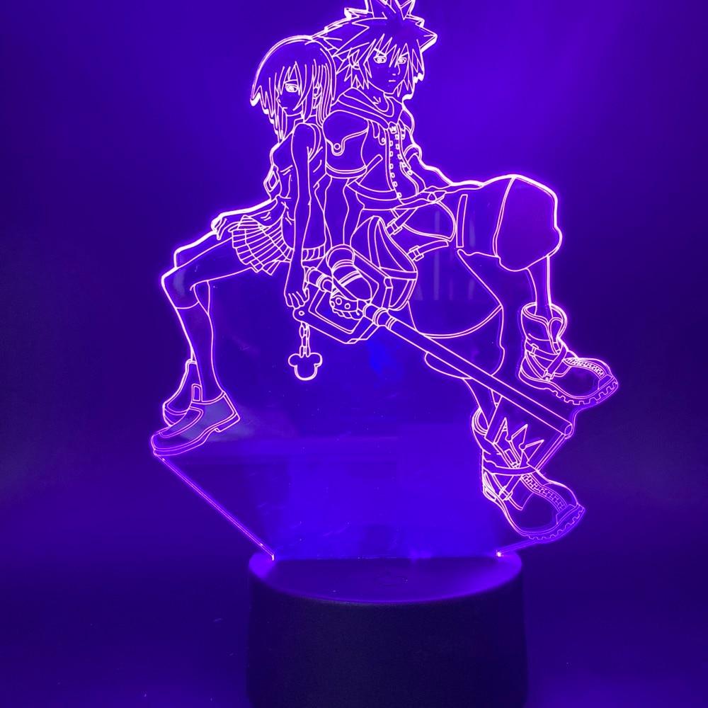 3d Led Night Light Game Kingdom Hearts Sora Kairi Figure For Bedroom Decorative Nightlight Kids Child Cool Gift Table Lamp 3d