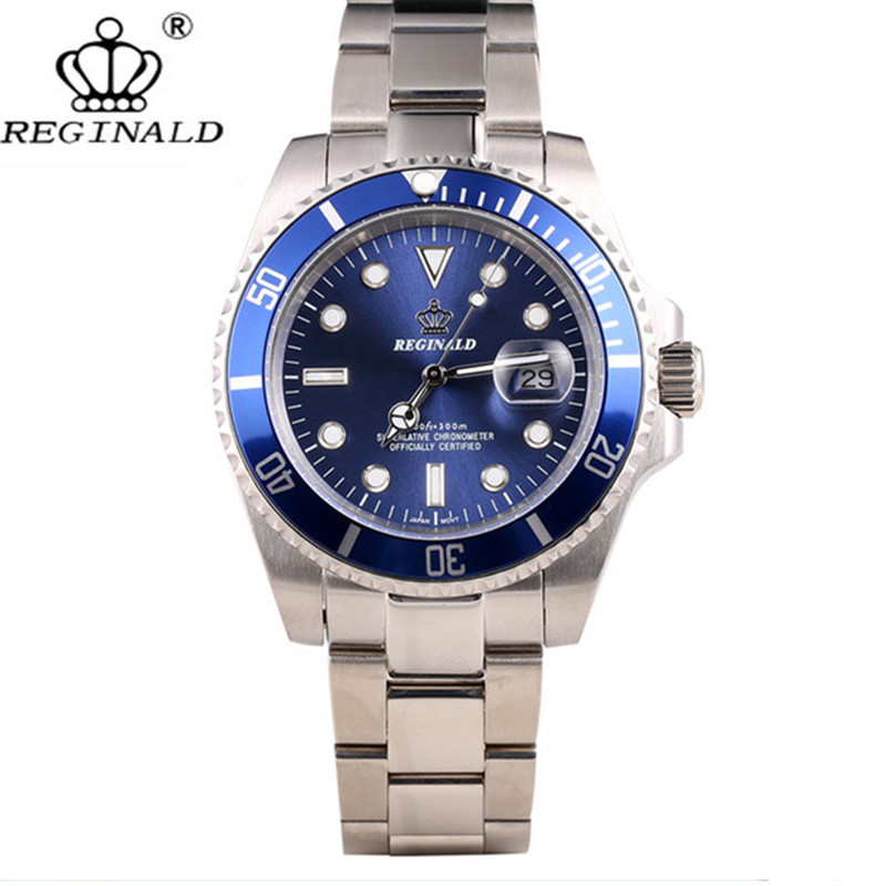 REGINALD Male Watch Crown Quartz Business Steel Waterproof Japan Calendar Men's Casual
