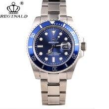 Reloj de cuarzo REGINALD Crown para hombre, reloj informal de negocios de acero, calendario japonés resistente al agua, relojes de pulsera de cuarzo alto