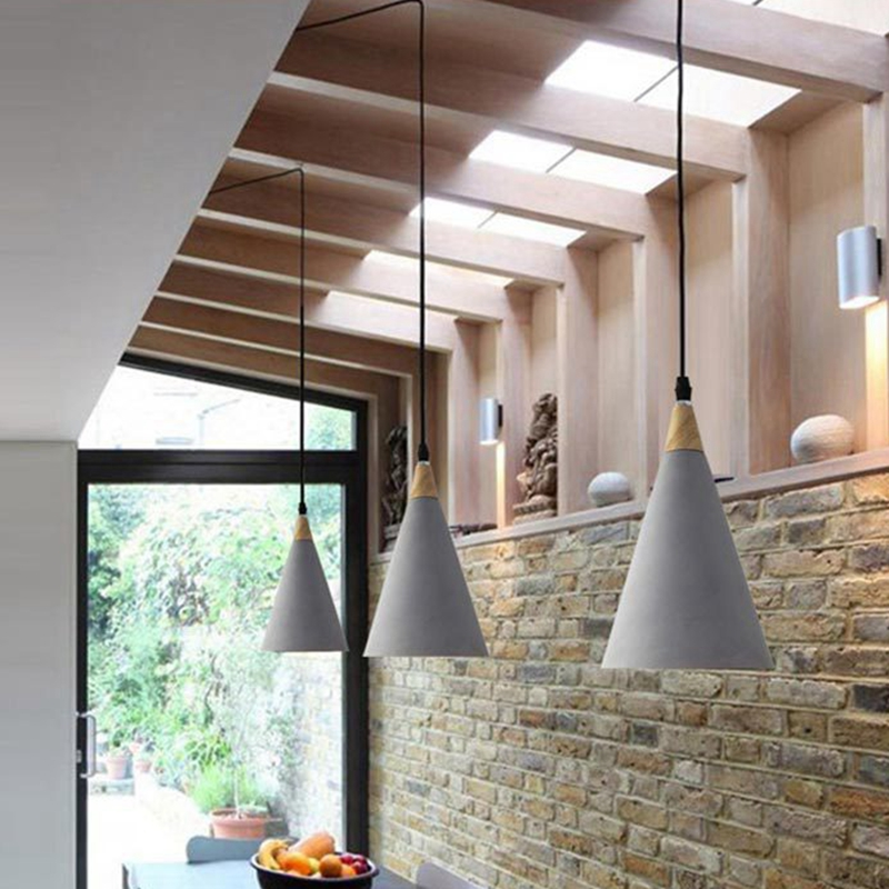 LuKLoy Industrial Modern Concrete Pendant Light Vintage Cement Kitchen Bar LED Hanging Ceiling Lamp Bedside Lighting Fixture