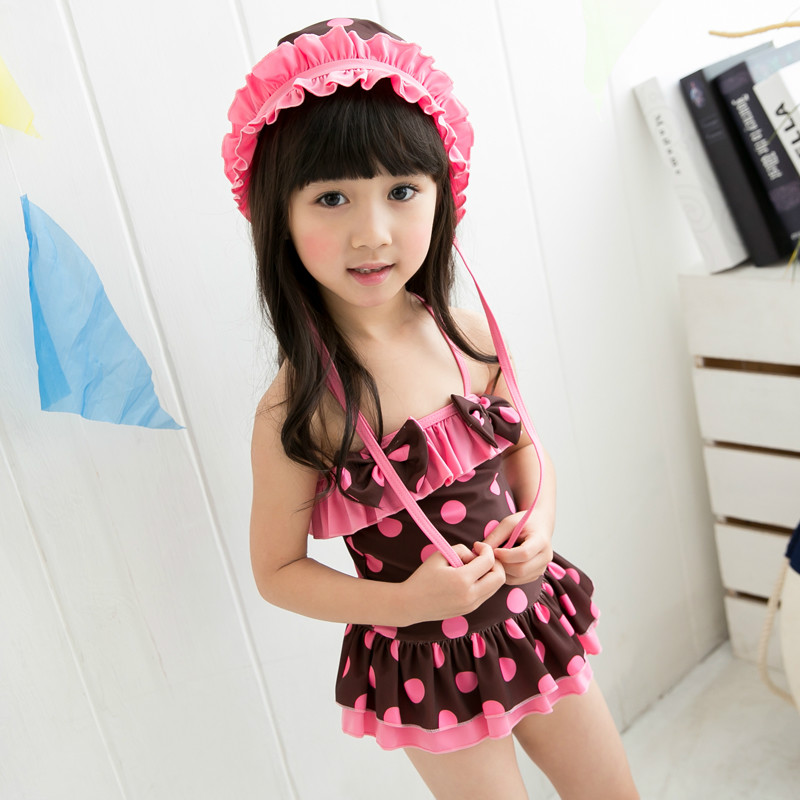 Swimming Suit Baby Girls Two Pieces Swimsuits with Dot Pattern Kids Swimwear Bikini Biquini Set Children Swimming Wear