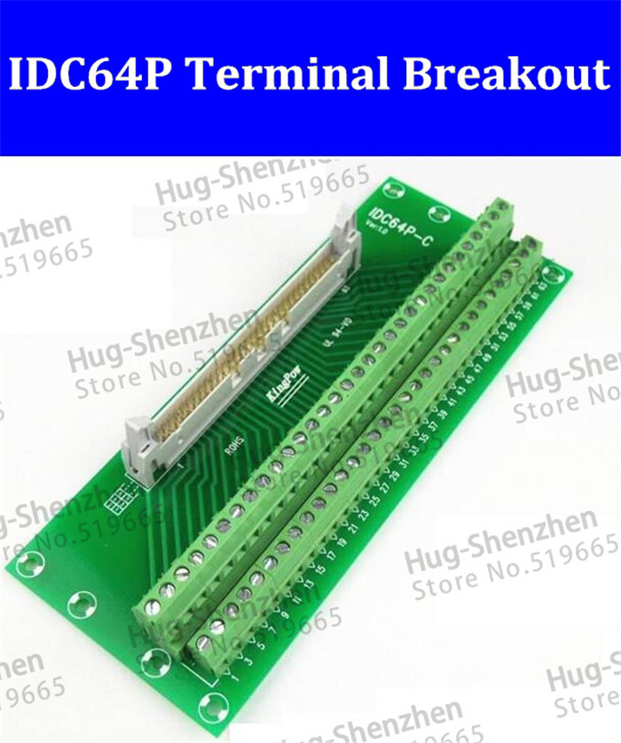 IDC64P IDC 64 Pin Male Connector to 64P Terminal Block Breakout Board Adapter PLC Relay Terminals DIN Rail Mounting--1pcs/lot 2pcs hdmi 2 0 hd adapter male connector breakout to 19p terminal board no need soldering high quality with housing shell