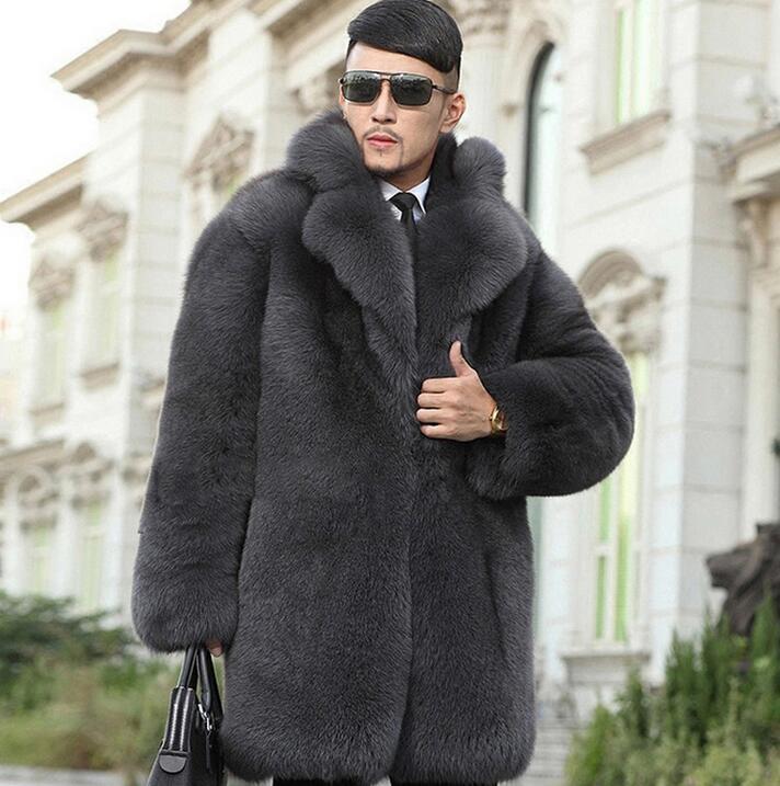 High Quality Winter Thicken Warm Faux Fur Coats Mens Luxury Fur Overcoat Slim Men Casual Jaqueta De Couro Grey European S - 6XL