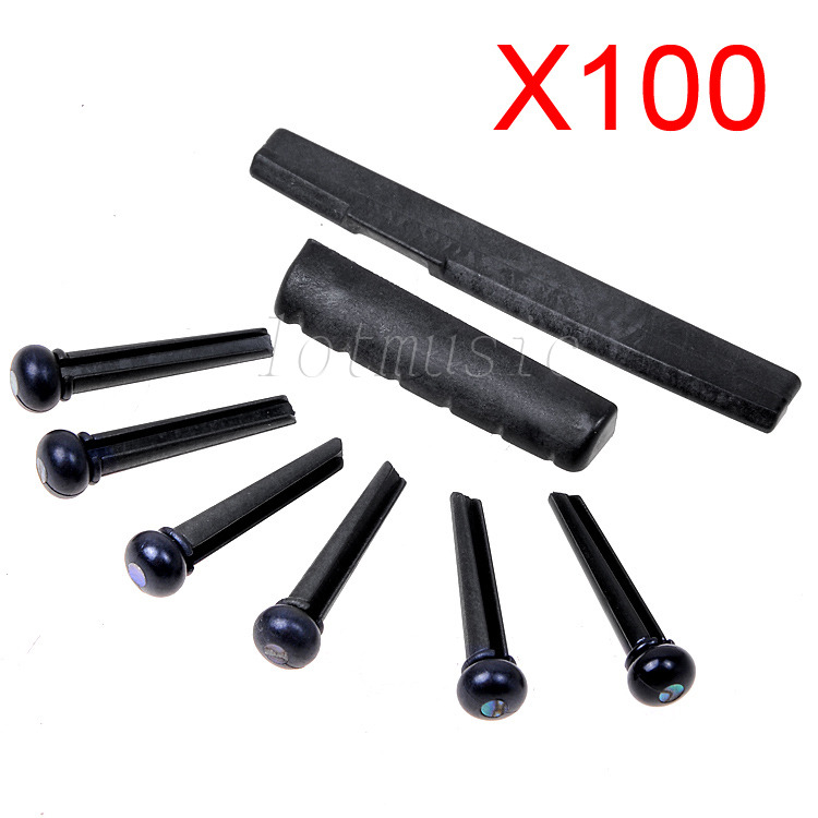 100sets Guitar Part 6 Strings Acoustic Guitar Bridge Pins/Saddle/Nut, Plastic Material, Black , High Quality цены онлайн