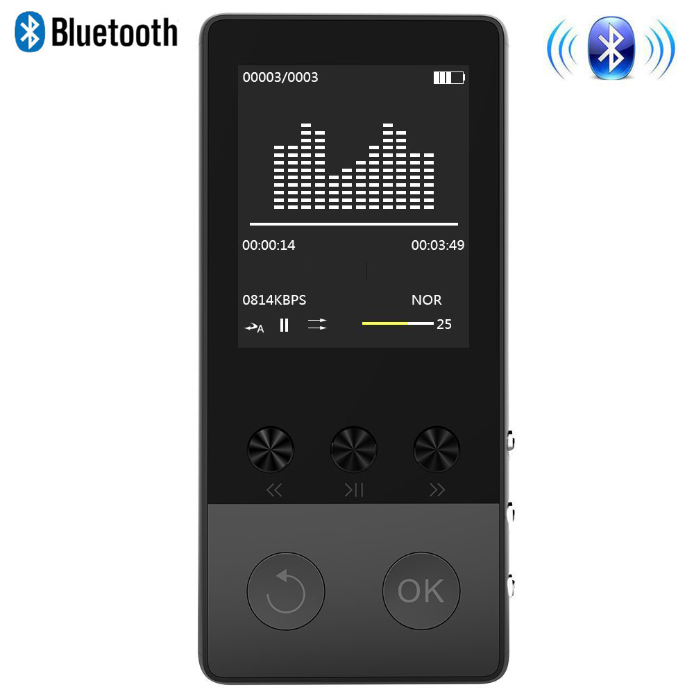 Hart Arbeitend 2018 Tragbare Sport Metall Hifi Bluetooth Mp3 Musik-player 8 Gb 1,8 Zoll Bildschirm Mit Voice Recorder Fm Radio E-buch Schrittzähler Quell Sommer Durst