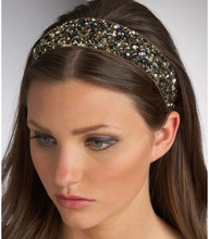 women girls bohemian vintage punk metal seed beads rhinestone braided knitted flower headband hair accessories