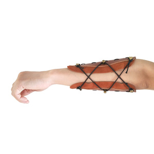 Image 3 - 2pcs Traditional Processed Cowhide Arm Guard Left right Hand Archery Safety Protection Hunting Shooting Protective Gear
