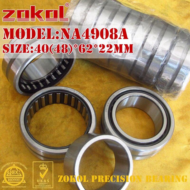 ZOKOL NA4908 A bearing NA4908A Entity ferrule needle roller bearing 40(48)*62*22mm na4910 heavy duty needle roller bearing entity needle bearing with inner ring 4524910 size 50 72 22
