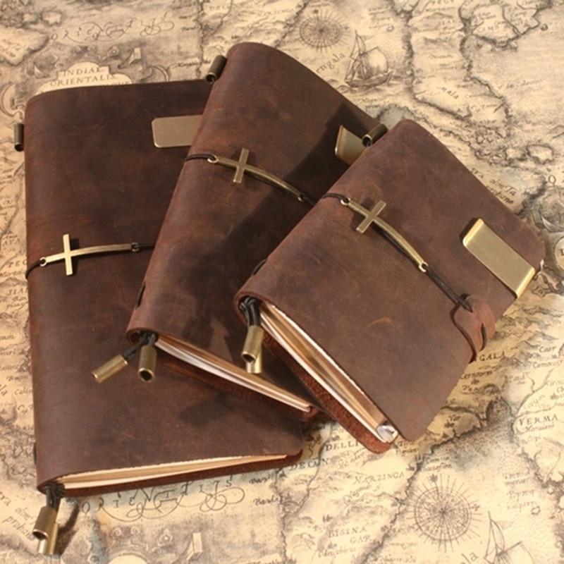 2019 blanco diarios revistas de cuaderno de nota libro vintage simple de cuero genuino libro La Escuela planificador papelaria escolar Cruz