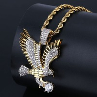 Eagle Pendant Fashion Style Pendant Necklace Animal Copper Metal Zircon Gold Classic Hip Hop Necklace For Man Jewelry