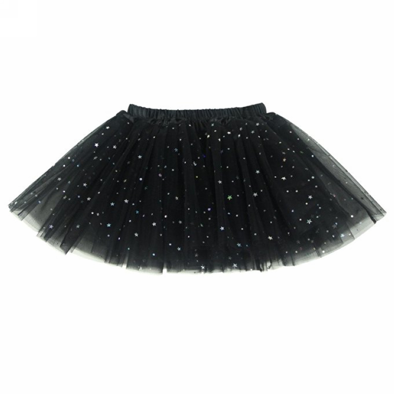 Buenos Ninos Children Girl's Mesh 3 Layers Sequin Ballet Skirt with Sparkling Stars Tutu Lovely Dance Tutus Skirts