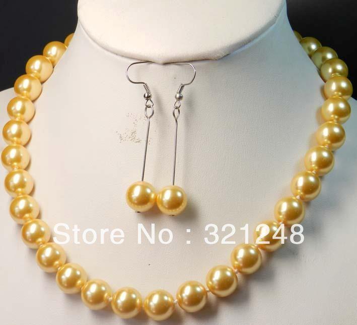 cbb68b6983b Envío libre 12mm de color simulado-perla perlas collar pendiente joyería  Set alto grado envío libre GE1238