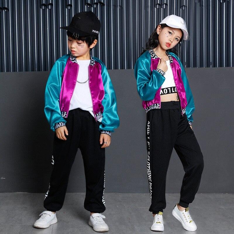 Nouveaux garçons et filles JAZZ version coréenne de la couleur correspondant chemise veste enfants jazz danse rue danse montrer vêtements