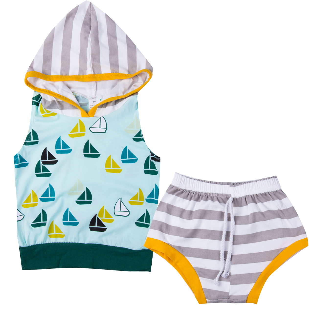 2Pcs Newborn Baby Boy Girl Hooded Sleeveless Sweatshirt Striped Short Pants Outfits Clothes Set
