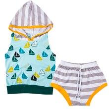 2Pcs Newborn Baby Boy Girl Hooded Sleeveless Sweatshirt+Striped Short Pants Outfits Clothes Set