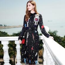 ФОТО Bohemian long sleeve print pleated dress  2018 spring  brand runway A line dress high end chiffon vestidos